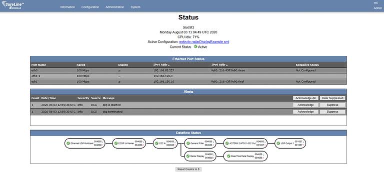 SureLine Status Page example
